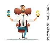 business concept. balance with... | Shutterstock .eps vector #766084024