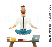 businessman meditates and... | Shutterstock .eps vector #766084036