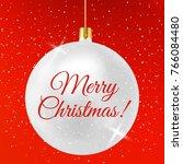 white bright christmas bauble.... | Shutterstock .eps vector #766084480