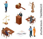 isometric law and justice.... | Shutterstock .eps vector #766086610