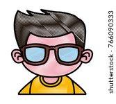 cute boy with sunglasses cartoon | Shutterstock .eps vector #766090333