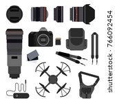 photo equipment set flat vector ...