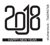 happy new year 2018 text design ... | Shutterstock .eps vector #766096768