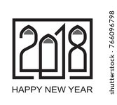 happy new year 2018 text design ... | Shutterstock .eps vector #766096798