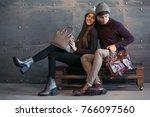 couple in winter cloths in... | Shutterstock . vector #766097560