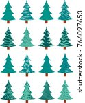 collection of pine trees with... | Shutterstock .eps vector #766097653