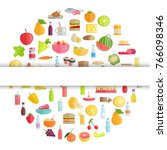 food and drinks round banner... | Shutterstock . vector #766098346