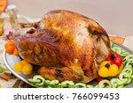 bountiful thanksgiving table... | Shutterstock . vector #766099453