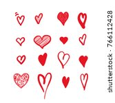 Hand drawn hearts. Design elements for Valentine's day. | Shutterstock vector #766112428