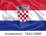 croatia fabric flag | Shutterstock . vector #766113880
