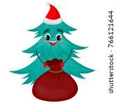 christmas tree character with... | Shutterstock .eps vector #766121644