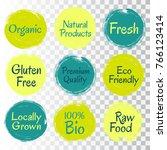 fresh  raw food  eco friendly ... | Shutterstock .eps vector #766123414