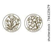 set of farm plants labels.... | Shutterstock .eps vector #766125679