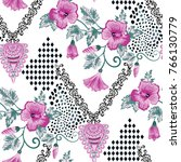 seamless pattern with pink... | Shutterstock .eps vector #766130779