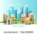 urban landscape. city with... | Shutterstock .eps vector #766130800