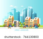 urban landscape. city with... | Shutterstock .eps vector #766130803