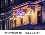 holiday lights on old building...   Shutterstock . vector #766133764