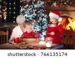 grandmother and children baking ... | Shutterstock . vector #766135174