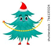 christmas tree character with... | Shutterstock .eps vector #766135324