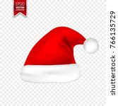 christmas santa claus hats with ... | Shutterstock .eps vector #766135729