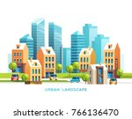urban landscape. city with... | Shutterstock .eps vector #766136470