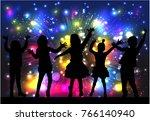 dancing children. silhouettes... | Shutterstock .eps vector #766140940