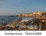 cefalu  sicily  italy  ... | Shutterstock . vector #766141888