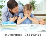 dad is angry because his... | Shutterstock . vector #766143496