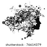 Beautiful woman with hair made of flowers with butterflies. - stock vector