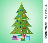 christmas tree with toys and... | Shutterstock .eps vector #766146016