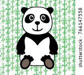 panda bear on the bamboo bright ... | Shutterstock .eps vector #766147558