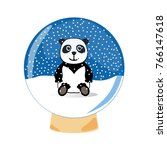 funny panda bear in the holiday ... | Shutterstock .eps vector #766147618