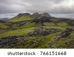 lake and moss covered volcanic... | Shutterstock . vector #766151668