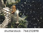 christmas tree with pine cone ...   Shutterstock . vector #766152898