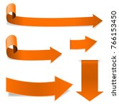 collection of orange arrows.... | Shutterstock . vector #766153450