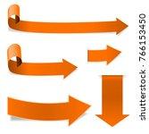 collection of orange arrows.... | Shutterstock . vector #766153450