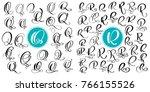 set letter q  r. hand drawn... | Shutterstock .eps vector #766155526