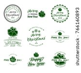 set of nine badges new year... | Shutterstock .eps vector #766160893