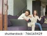 frustrated angry man sitting on ...   Shutterstock . vector #766165429