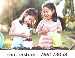 Two Children Asian Little Girl...