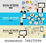 social network vector concept.... | Shutterstock .eps vector #766175194