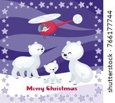 christmas greeting card with... | Shutterstock .eps vector #766177744