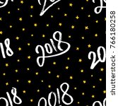 happy new year 2018. seamless... | Shutterstock . vector #766180258