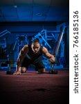 young male athlete bodybuilder... | Shutterstock . vector #766185136