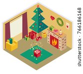christmas isometric room with...   Shutterstock .eps vector #766186168