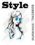 hand drawn beautiful woman... | Shutterstock .eps vector #766188058