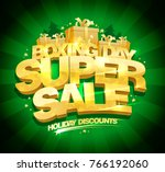 boxing day super sale vector... | Shutterstock .eps vector #766192060