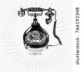 vintage telephone drawing and... | Shutterstock .eps vector #766192348