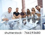 young business team sitting at... | Shutterstock . vector #766193680