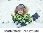walking funny little boy in the ... | Shutterstock . vector #766194880